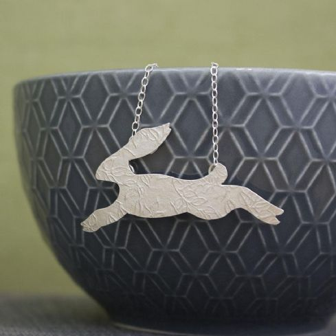 Joanne Tinley Jewellery - Sterling Silver Watercolour Baby Hare Necklace